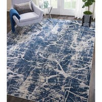 Kathy Ireland Heritage Beige/Blue Abstract Rug by Nourison - beige blue - 8' x 10'5""