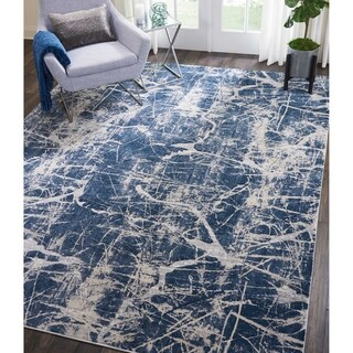 """Kathy Ireland Heritage Beige/Blue Abstract Rug by Nourison - 8' x 10'5"""""""