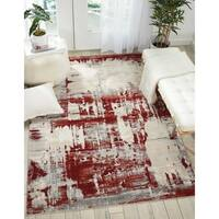 "Nourison Maxell Distressed Ivory/Red Area Rug - 7'10"" x 10'6"""
