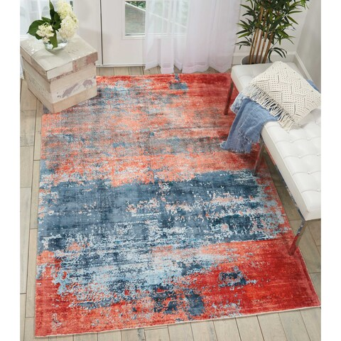 Kathy Ireland Vintage Abstract Blue/Brick Red Area Rug by Nourison - 9' x 12'