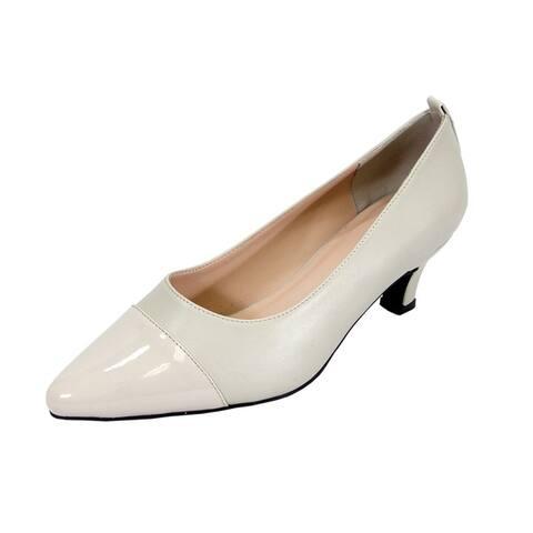 PEERAGE Arlene Women Extra Wide Width Casual Comfort Dress Heel Pump