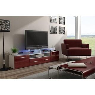 Evora High Gloss Wood TV Stand (Option: White/Red)