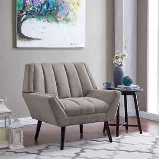 Carson Carrington Mariager Mid-century Modern Grey Velvet Arm Chair