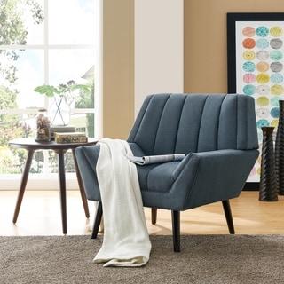 Carson Carrington Mariager Mid-century Modern Blue Velvet Arm Chair