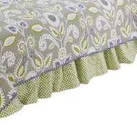 Cotton Tale Periwinkle Green and White Geometric 15-in drop Bed Skirt