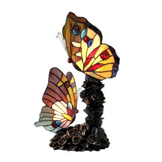 Chloe Tiffany Style Butterfly 2-light Bronze Table Lamp (As Is Item)