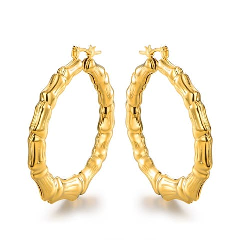 Caveman Style Bamboo Hoop Earrings Plated in 18k Gold
