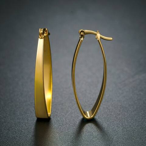 Semi-Oval Hoop Earrings Made with 18k Gold Overlay and Hinge Back Closures