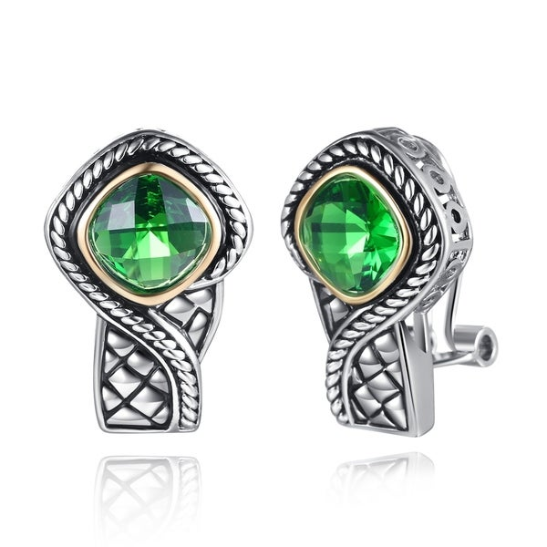 Rhodium Plated Lab Created Emerald Clip On Earrings
