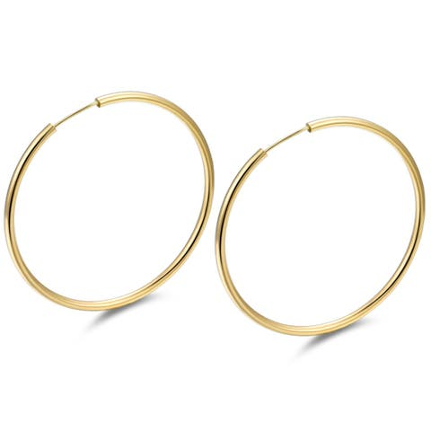 Gold Plated Gold 50mm Endless Hoop Earrings