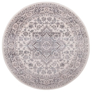 "Concord Global Lara Hailey Ivory Grey Round Rug - 7'10"" x 7'10"" Round"