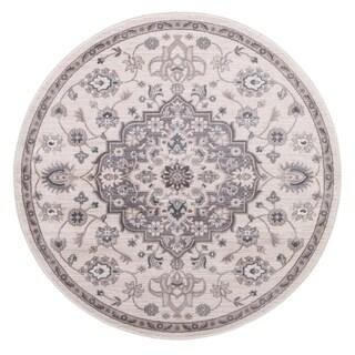 "Concord Global Lara Cara Ivory Grey Round Rug - 7'10"" x 7'10"" Round"