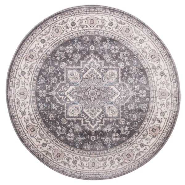 "Concord Global Lara Hailey Grey Round Rug - 7'10"" x 7'10"" Round"