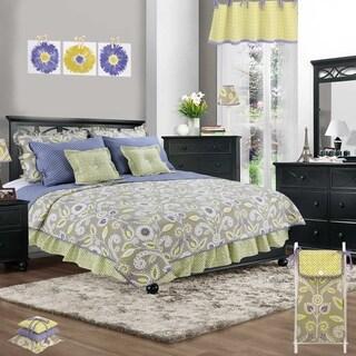 Cotton Tale Periwinkle Floral 8 Piece Reversible Quilt Bedding Set