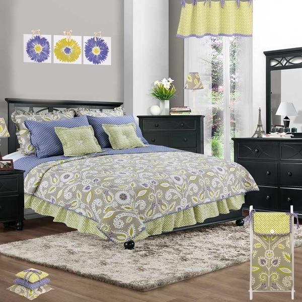 Cotton Tale Periwinkle Floral 2 Piece Reversible Quilt Bedding Set