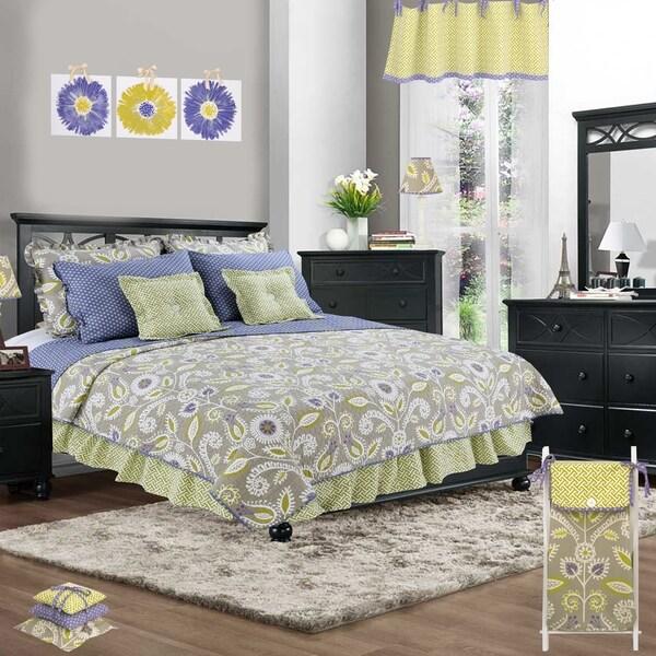 Cotton Tale Periwinkle Floral 3 Piece Reversible Quilt Bedding Set