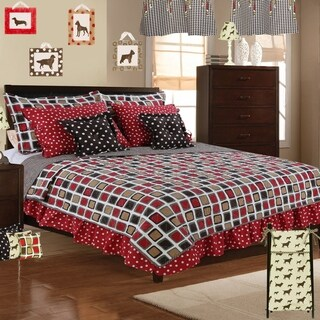 Cotton Tale Houndstooth Geometric 5 Piece Reversible Quilt Bedding Set