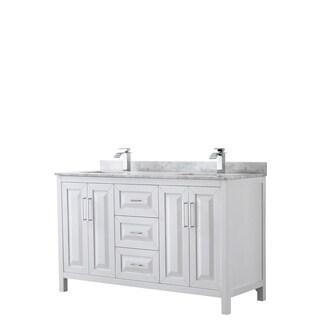 Daria 60-inch White Double Vanity, Marble Top, No Mirror