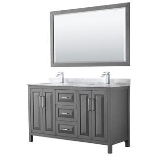 Daria 60-inch Dark Gray Double Vanity, Marble Top, 58-inch Mirror