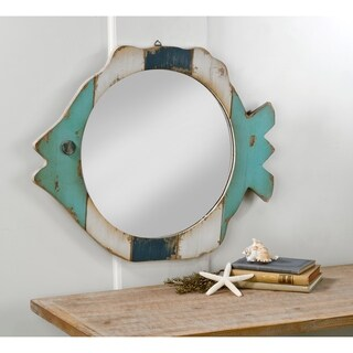 Wood Fish Frame Mirror - Blue