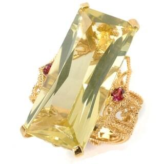 Michael Valitutti Palladium Silver Emerald Cut Lemon Quartz and Pink Tourmaline North-South Ring