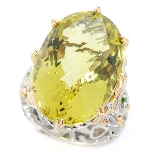 Michael Valitutti Palladium Silver Oval Checkerboard Cut Ouro Verde And Chrome Diopside Masterpiece Ring