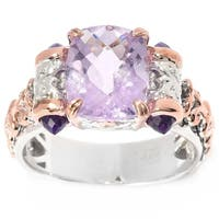 Michael Valitutti Palladium Silver Cushion & Bullet Shaped Pink and African Amethyst Ring