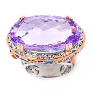 Michael Valitutti Palladium Silver Pink Amethyst & Floral Enamel East-West Ring