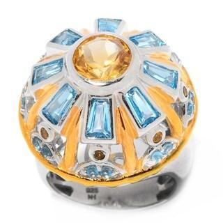 Michael Valitutti Palladium Silver Citrine & Swiss Blue Topaz Sistine Chapel Dome Ring