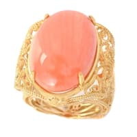 Michael Valitutti Palladium Silver Oval Salmon Coral Beaded Filigree Ring