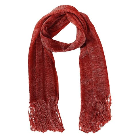 Peach Couture Women Metallic Princess Shimmer Sheer Mesh Glitter and Sparkle Fringe Scarf Red