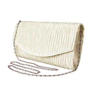 Peach Couture Womens Vintage Satin Pleated Evening Cocktail Wedding Party Clutch (Option: Cream)