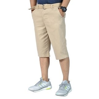 Mens Relaxed fit Double Ring Belt Casual Tapered chino shorts Khaki