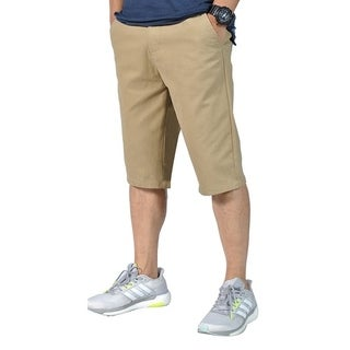 Mens Relaxed fit Ring Belt Casual Tapered chino shorts Light Coffee
