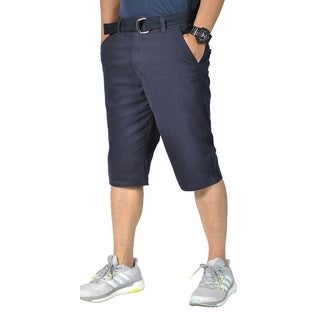 Mens Relaxed fit Double Ring Belt Casual Tapered chino shorts Navy