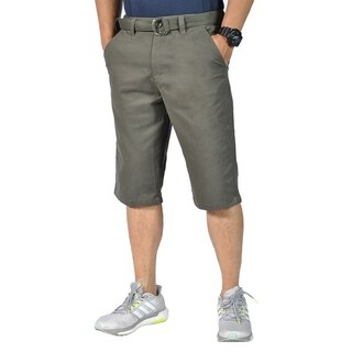 Mens Relaxed fit Double Ring Belt Casual Tapered chino shorts Olive