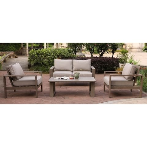 Katalla Aluminum 4-piece Conversation Set with Coffee Table by Havenside Home
