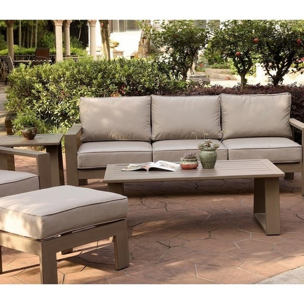 Aluminum Patio Coffee Table: Shop Marina 28x50 Inch Aluminum Coffee Table