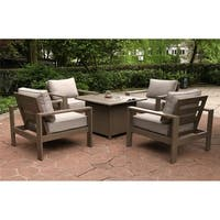 Havenside Home Katalla Outdoor 5-piece Aluminum Firepit Set with 4 Club Motion Chairs