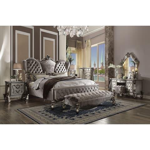 ACME Versailles Bench, Fabric & Antique Platinum
