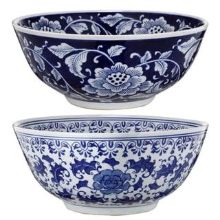 Set Of 2 Ceramic Bowls, Blue And White,