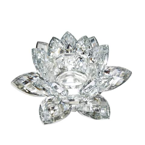 Clear Crystal Lotus Flower Candle Holder, Silver