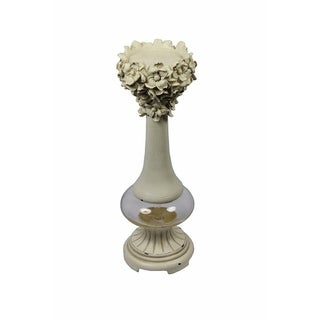 Alluring Polyresin Candle Holder, Off White