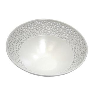 Contemporary Pierced Ceramic Bowl, White