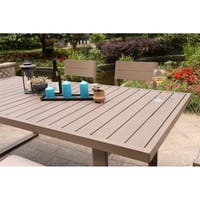 Marina 40x83 Inch Aluminum Slatted Rectangle Dining Table - Best Outdoor Patio Furniture