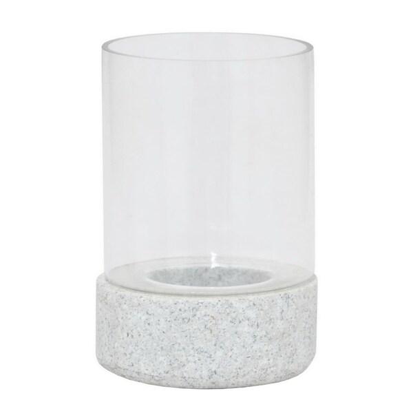 Benzara 80236 Stylish Stone Hurricane with Glass