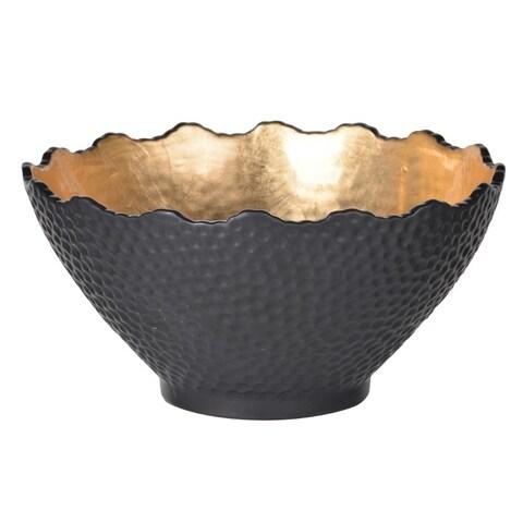 Stoneware Gilded Bowl, Small, Black