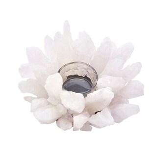 Starburst Style White Agate & Glass Votive Candle Holder