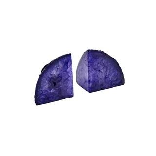 Elegant Purple Stone Agate Bookends, Set Of 2, Purple