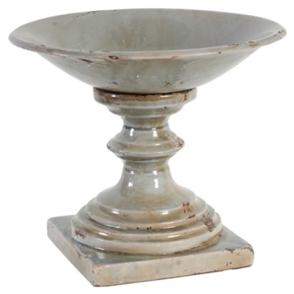 Footed Centerpiece Ceramic Bowl, Gray